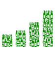 bar chart mosaic of wine bottles vector image vector image