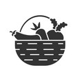 basket with vegetables glyph icon vector image