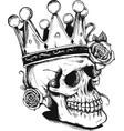 beautiful romantic skull with crown and elegant vector image
