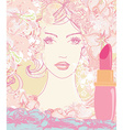 beautiful woman with painted lips vector image