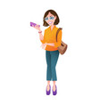 beautiful young woman with mobile phone stands in vector image