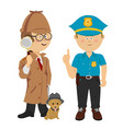 boys wearing detective and policeman costumes vector image vector image