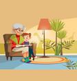 cartoon grandmother reading to boy vector image