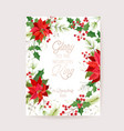 christmas winter floral card poinsettia vector image