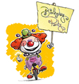 Clown on Unicle Hoding a Birthday Party Plackard vector image vector image