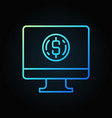 computer with coin blue outline icon pc vector image