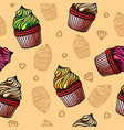 cupcakes seamless pattern image vector image