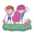 cute little kids playing soccer in the landscape vector image