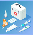 first aid kit medicament and tools isometric vector image