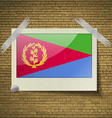 Flags Eritrea at frame on a brick background vector image vector image