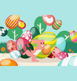 flat easter bright bunny runs with striped egg vector image vector image