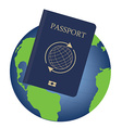 Globe and passport vector image vector image