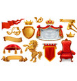 gold crown of the king royal chair mantle pillow vector image vector image