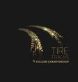 golden tire tracks on dark background vector image vector image
