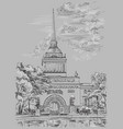 grey hand drawing st petersburg 2 vector image vector image