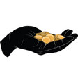 hand holding gold coin vector image
