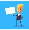 Handsome businessman in formal suit holding letter vector image