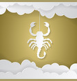 horoscope paper cut style concept for scorpio vector image