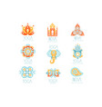 indian yoga studio set colorful promo sign vector image