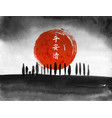 ink wash painting with trees big red sun vector image