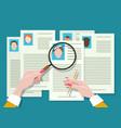 job vacancy employee hunter documents review vector image vector image