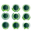 luxury green circular laurel wreath and badges vector image vector image