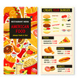 menu for fast food meals snacks and drinks vector image vector image