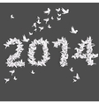 Number 2014 with origami birds vector image vector image