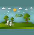 paper art style of landscape and people in nature vector image