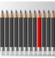 Row of dark grey pencils with one outstanding red vector image