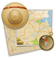 Safari Map with Hat vector image vector image