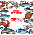 seafood menu card or poster template vector image vector image