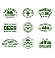 set of isolated hunting emblems with deer and guns vector image