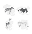 set of silhouettes of animals safari vector image
