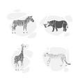 set silhouettes animals safari vector image vector image