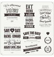 Set wedding invitation vintage design elements