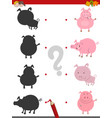 shadow activity with pig animals vector image vector image