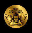 skull motorbike rider emblem vector image