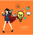 superhero business woman cartoon for start up vector image