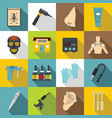 tattoo parlor icons set flat style vector image vector image