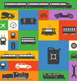 Vintage and modern vehicle silhouettes collection vector image