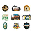 vintage camp patches logos mountain badges set vector image vector image