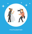wedding photo session of newlyweds by photographer vector image vector image