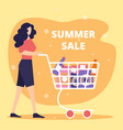 young woman push shopping cart full purchases vector image vector image