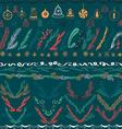 Set of Christmas Hand Drawn Floral Set Design vector image