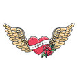 hand drawn tattoo heart with wings ribbon flower vector image