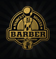 barber shop hair salon hair stylist vintage logo vector image