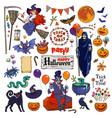 big set of halloween cartoon characters and vector image vector image