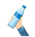 bottle of soda hold in hand vector image vector image