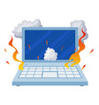 broken open laptop damaged equipment in fire vector image vector image